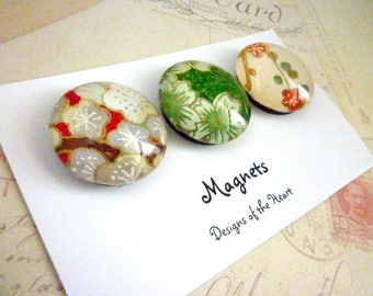 Round Glass Magnet set - Red and Green Japanese Paper Collection
