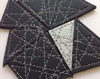 Recycled Leather Fractal Brooch by Mainichi