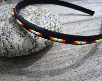 Black Sunset Satin Seed Beaded Headband