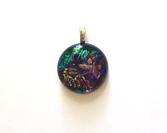 """Fused Dichroic Glass Pendant, Layered Mosaic Design, 1"""" Circle Cabochon, Cab, Green, Blue, Black, Orange, Pink, Butterfly, Jewelry"""