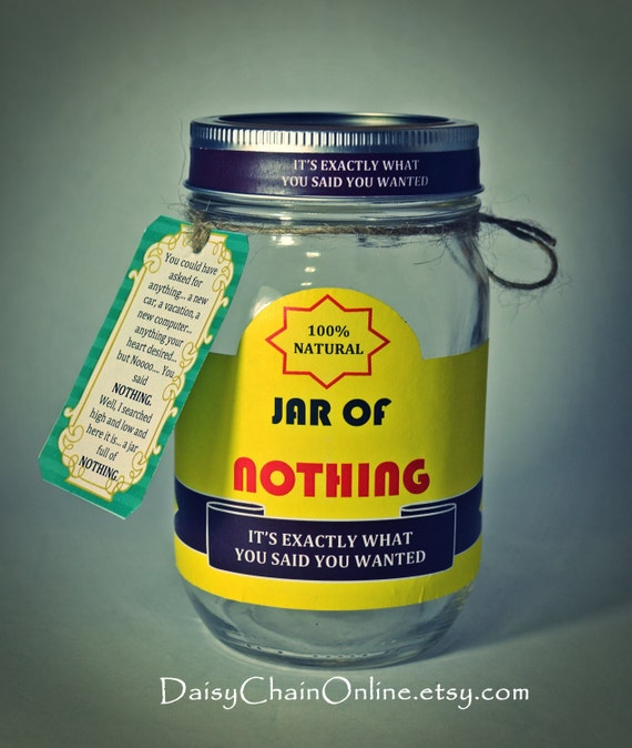Delightful Funny Christmas Gift Ideas For Men Part - 4: Best Gag Gift A Jar Of Nothing Funny Gift For Boyfriend