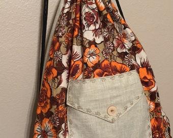 Floral Drawstring Bag
