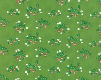"""13"""" piece/remnant - SALE - Gooseberry - Gooseberry Patch in Leaf Green: sku 5011-15 cotton quilting fabric by Lella Boutique for Moda"""