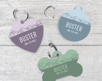 Pet Tag | Personalized Pet Tag | Pet ID Tag | Dog Tag | Cat Tag | Dog Collar Tag | One-sided | Hand drawn Mountains