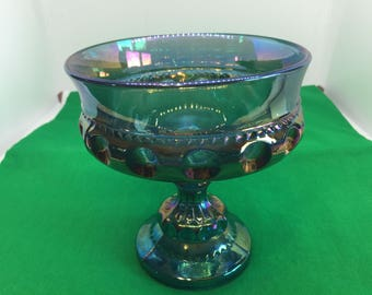 Collectible Footed Iridescent Blue/Soft Violet Indiana Carnival Glass Kings Crown Thumbprint Compote Candy Dish