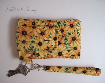 "Black-eye Susan Wristlet, Fits iPhone 5 and Smartphones up to 5.25"" x 2.75"", Smartphone Wristlet, Cell Phone Clutch"