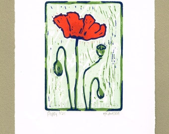 Poppy, Red Poppy flower linocut print - Original Limited Edition Linocut Reduction Print