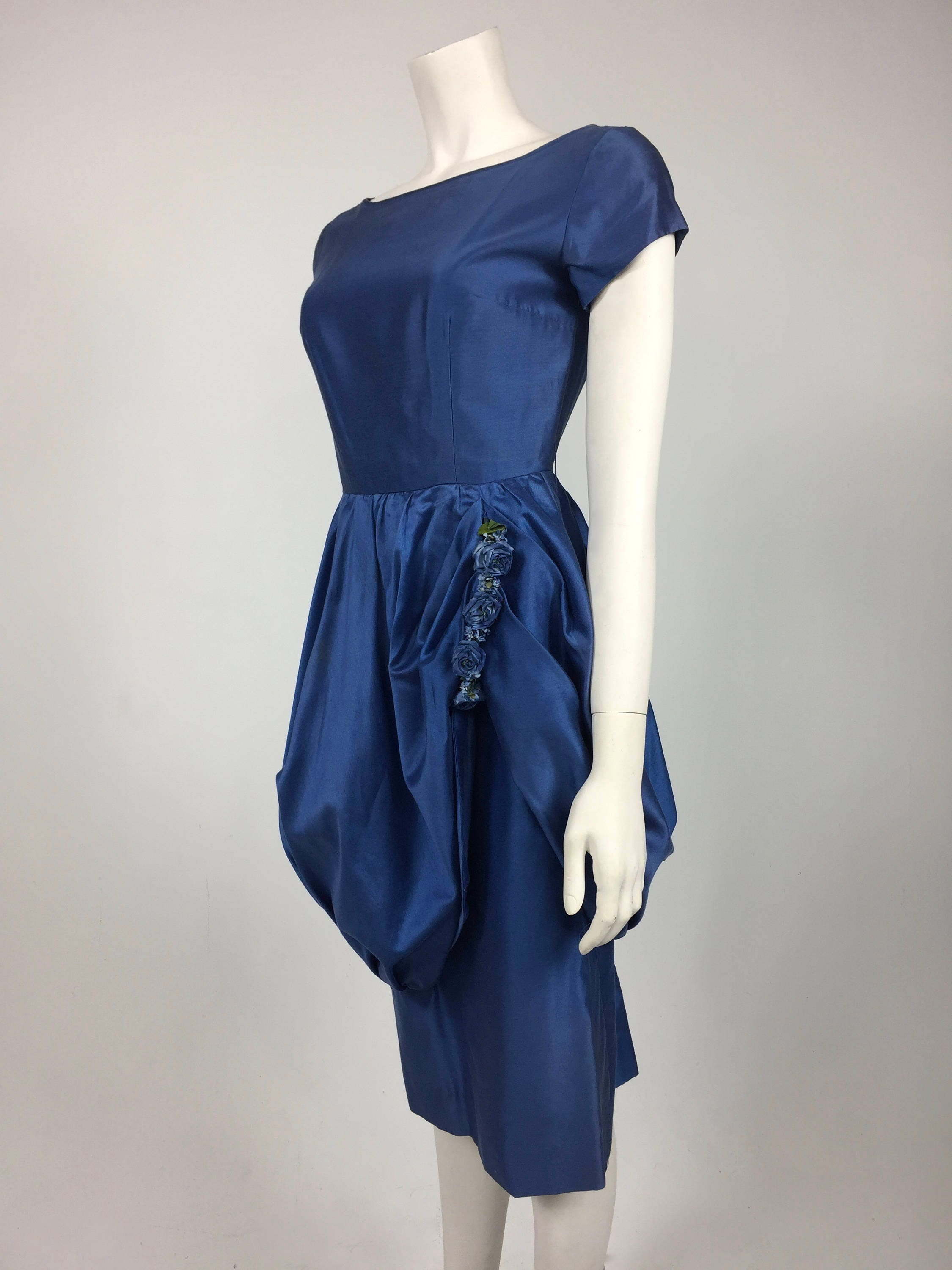 Vintage 1950\'s Royal Blue Sateen Cocktail Dress with Bubble Skirt ...