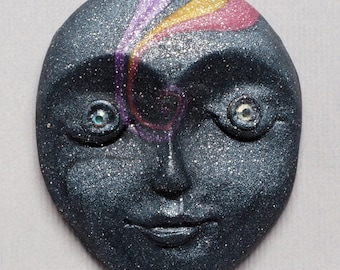"""Dark Blue with Yellow, Purple and Pink """"Galaxy Swirl""""  Polymer Clay Art Doll Face Cabochon with Rhinestone Eyes"""