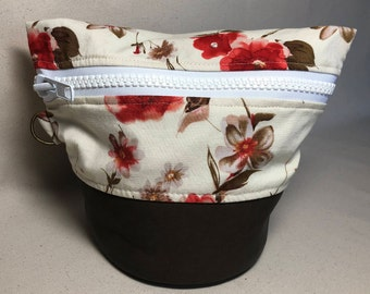 Small Traveling Yarn Bowl Project Bag - Poppy Flowers
