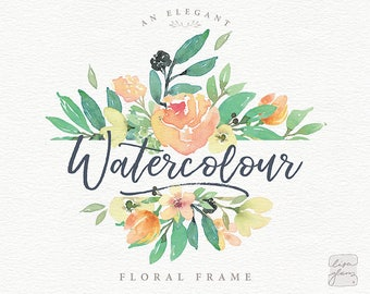 Watercolor floral frame: hand painted floral rectangle frame / Wedding invitation clip art summer watercolor flowers / commercial use / TB-b