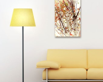 Canvas Print, White Paper Birch Trees, Fall Leaves Wall Art, Autumn Themed Home Decor, Orange and Yellow Birch Leaves, Semi Vintage Style