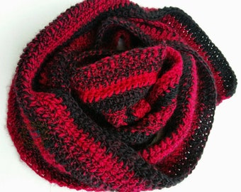 Black and Red Scarf, Striped Scarf, Fantasy Trails Scarf, Woman's Scarf, Mother's Day Gift, Gift for Mom