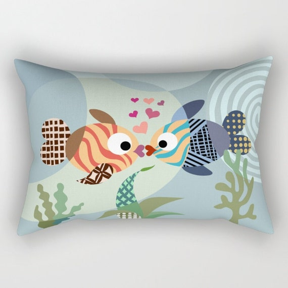 Kissing Fish Pillow, Fish Pillow, Love Pillow,  Love Decor,  Valentine Gift, Cute Pillow, Ocean Blue, Turquoise, Teal
