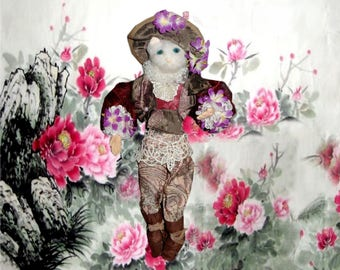 Cat puppet on a Fund of peonies