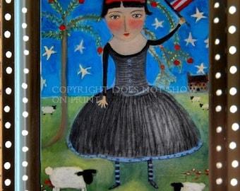 Primitive Americana Folk Art American Flag signed framed by the artist