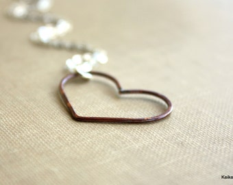 Valentine's Day Jewelry, Red Heart Necklace, Sterling Silver Copper Sideways Heart Romantic Gift