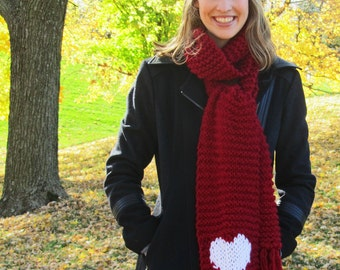 I Heart Huskers Scarf // Red Chunky Scarf