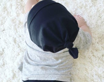Handmade Top Knot Baby Beanie- Black
