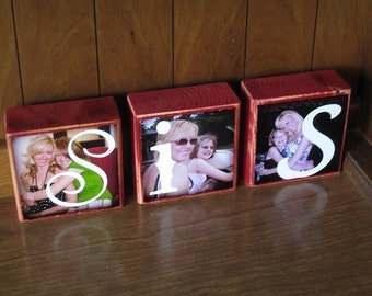 Personalized gift- Photo Blocks- BFF Sis MOM Dad POP- set of 3