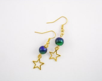 Gold Earrings, glass beads blue and green shades with star charm