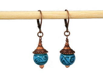 Turquoise Swirled Glass Bead and Antiqued Copper Dangling Earring