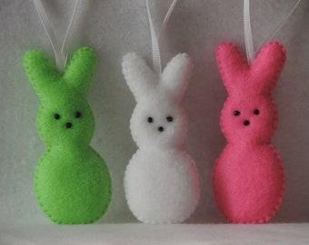 Easter Bunny Felt Ornaments Marshmallow Bunnies Pink White Green Bunnies Felt Ornaments Easter Decor Easter Ornaments Spring Ornaments