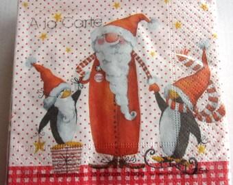 20 Santa and Penguin art paper napkins   3859