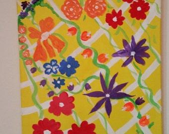 Flowers on a Trellis ACRYLIC ORIGINAL One of a Kind