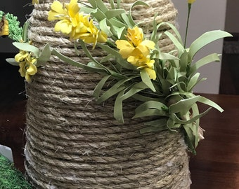 Bee Skep / Farmhouse Decor/ French Country Decor/ Primitive Bee Hive/ Rustic Decor/ Honey Bees/ Floral