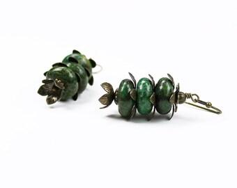Yellow Green Pine Gemstone Earrings, Antiqued Brass, Vintage Style Rondelle Gemstone Flower Earrings