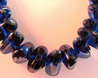 Bohemian Czech Glass Blue Nugget Beads