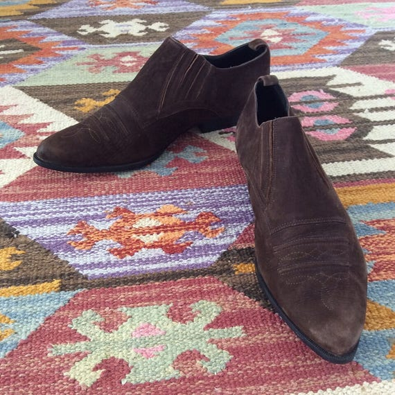 Ankle Boots Brown 1990's Western Leather IwYtBqg