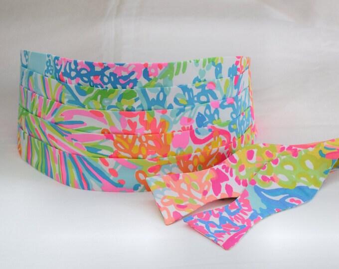 Cummerbund & Bow Tie, multi color Lovers Coral Lilly print, groom/groomsmen attire, wedding party wear, tuxedo accessory, prom cummerbund