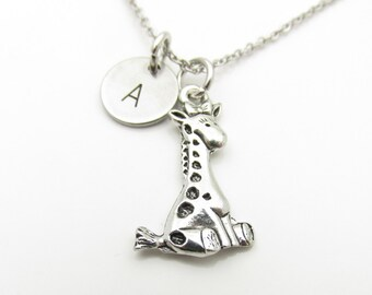 Giraffe Necklace, Baby Giraffe Necklace, Personalized, Monogram, Initial Necklace, Antique Silver Giraffe, Animal Themed Jewelry Y383