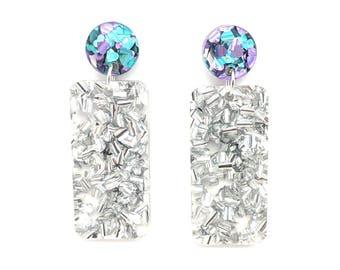 Chunky Silver Glitter Rectangle Earrings