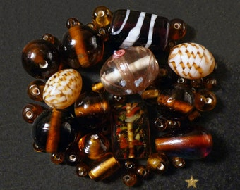 Handcrafted Indian amber, glass beads yellow of various shapes