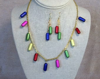 Valley Of The Dolls Pills Necklace with Earrings