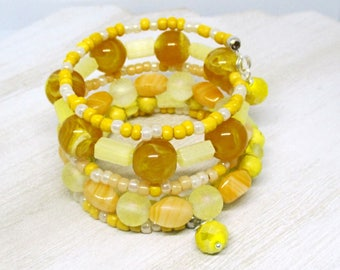 Yellow Bracelet, Memory Wire Bracelet, Multistrand Bead Bracelet, Boho Coil Bracelet, One of a Kind Gift for Her, One Size Fits Most