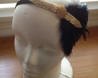 Gold great gatsby headband, gold 1920s headband, black feather headpiece, Art Deco 1920s headband, flapper headband, beaded headpiece