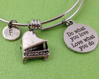 Do What You Love Love What You Do Bracelet, Piano Charm Bracelet, Personalized Bangle, Piano Bangle, Initial Bracelet, Stainless Steel