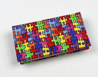 Duplicate Checks Checkbook Cover with Pen Holder, Puzzle Pieces Cotton Fabric, Autism Awareness