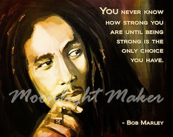 Bob Marley Print Poster Inspirational Quote Strong Strength Courage Wall Art