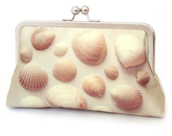 Clutch bag, shell purse, sea shells, beach wedding, bridesmaid gift, printed silk bag, SEASHELLS