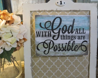 """Wood Sign, """"With God All Things Are Possible"""", Wood Religious Sign, Bible Scripture, Inspirational Christian Scripture, Beach Inspired"""