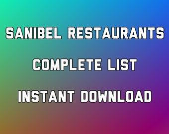 Sanibel Island Complete list of Every Restaurant  Instant Digital Download 9-page PDF