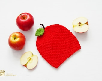Photography Ideas For Your Junior. Apple Baby Hat. Newborn Photo Prop Girl. Red Newborn Hat. Newborn Photo Outfit. Red apple Baby Costume.