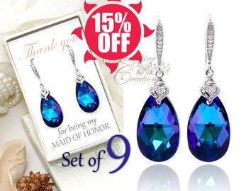 SET OF 9 Purple Blue Earrings, Bridesmaid Earrings, Heliotrope Crystal Earrings, Wedding Jewelry, Bridesmaid Gift, Bridesmaid Jewelry K012