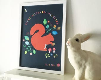 Personalised bespoke squirrel art print
