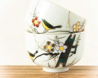 Vintage Japanese Teacups, Plum Blossom  Porcelain YY Made in Japan